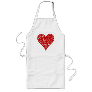 I Love You Heart Design for Weddings & Holidays Long Apron