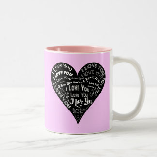 I Love You Heart Design for Weddings & Holidays Two-Tone Coffee Mug