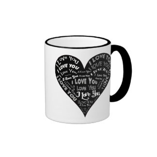 I Love You Heart Design for Weddings & Holidays Ringer Coffee Mug