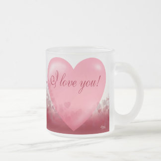 I Love You Heart Festival Frosted Glass Gift Mugs