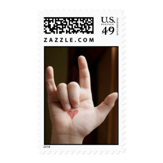 I Love You Heart Hand Postage Stamp