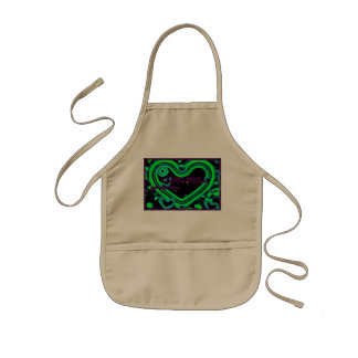I Love You Heart In Green Kids' Apron