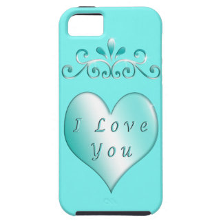 I Love You Heart iPhone 5S Cases and Covers Aqua