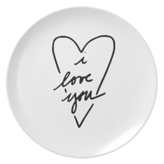i love you Heart Party Plate