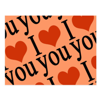 I love you - heart postcard