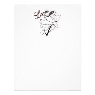 I Love You Heart Roses For Valentine's Day Letterhead