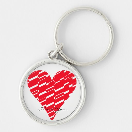 I Love You Heart Shatter Red White Keychain