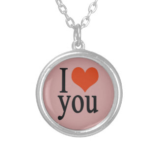I love you - heart silver plated necklace
