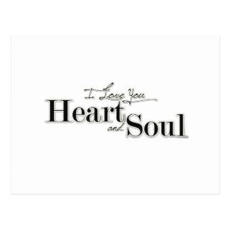 I love you Heart Soul WordArt Postcard