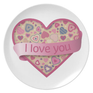 I love you heart with banner - beige rose party plate