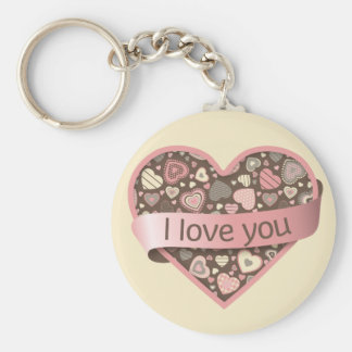 I love you heart with banner - Chocolate Dream Basic Round Button Keychain