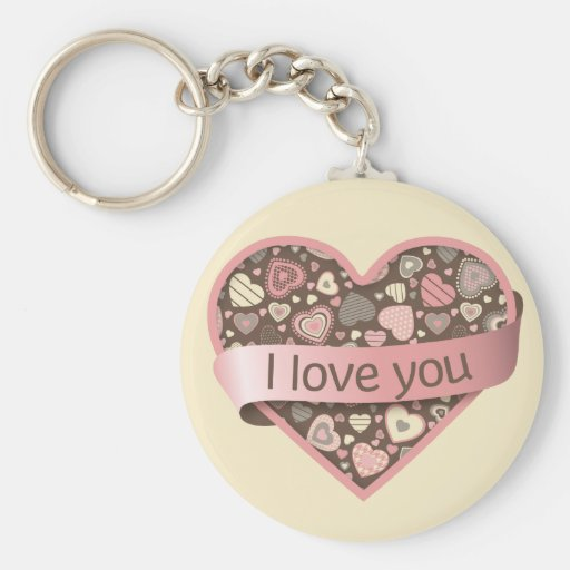 I love you heart with banner - Chocolate Dream Keychains