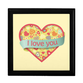I love you heart with banner - Funky Love Keepsake Box