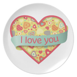 I love you heart with banner - Funky Love Party Plate