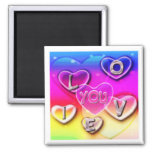 I LOVE YOU hearts clouds 2 Inch Square Magnet