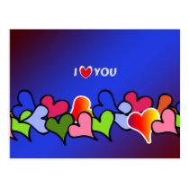 i love you, hearts galore colorful design postcard