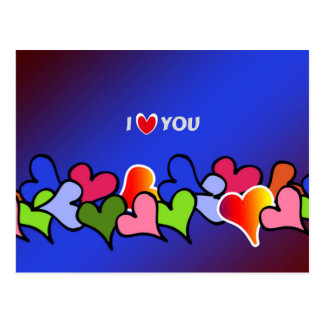 i love you, hearts galore colorful design postcard