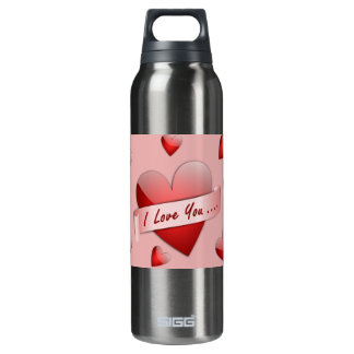 I love you hearts pattern 16 oz insulated SIGG thermos water bottle
