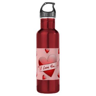 I love you hearts pattern 24oz water bottle