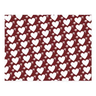 I love you - hearts with arrow postcard