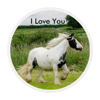 I Love You horse Sugar Toppers Edible Frosting Rounds
