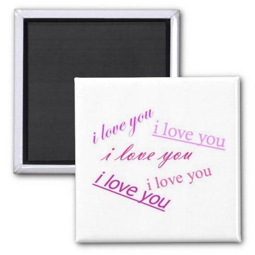 i love you,i love you i love i love you 2 inch square magnet