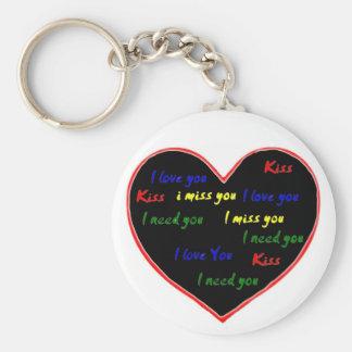 I love you, I need you, I measure you, Kiss Basic Round Button Keychain