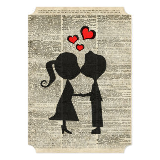 I love you illustration over an dictionary page 5x7 paper invitation card