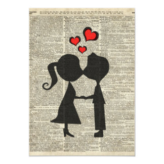 I love you illustration over an dictionary page card