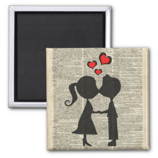 I love you illustration over an dictionary page 2 inch square magnet