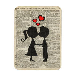 I love you illustration over an dictionary page rectangular photo magnet