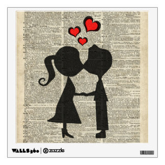 I love you illustration over an dictionary page room decal