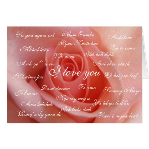 """I love you"" in 23 languages peach rose Greeting Card"