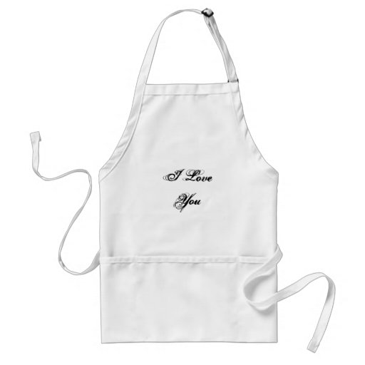 I Love You. In a script font. Black and White. Adult Apron