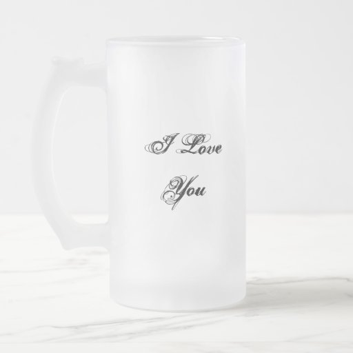 I Love You. In a script font. Black and White. Coffee Mug