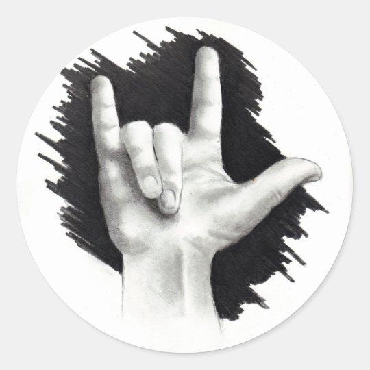 I LOVE YOU IN ASL #2 CLASSIC ROUND STICKER