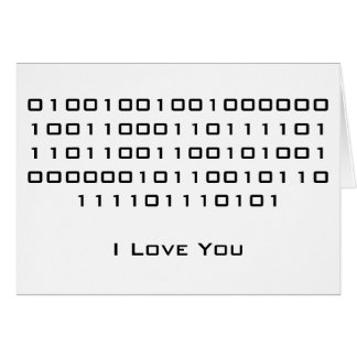 """""""I Love You"""" in Binary Code Stationery Note Card"""