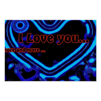 I Love You In Blue Poster