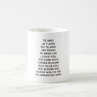 I Love You In Different Languages in Red Print Coffee Mug