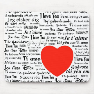 I love you in different languages mouse pad