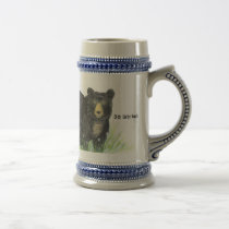 ~ i love you in German ~ Black Bear blue trim Beer Stein