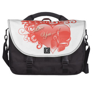 I LOVE YOU IN RED HEART LAPTOP BAGS