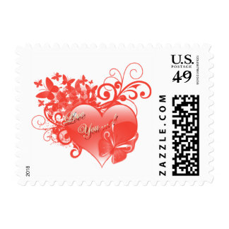 I LOVE YOU IN RED HEART POSTAGE