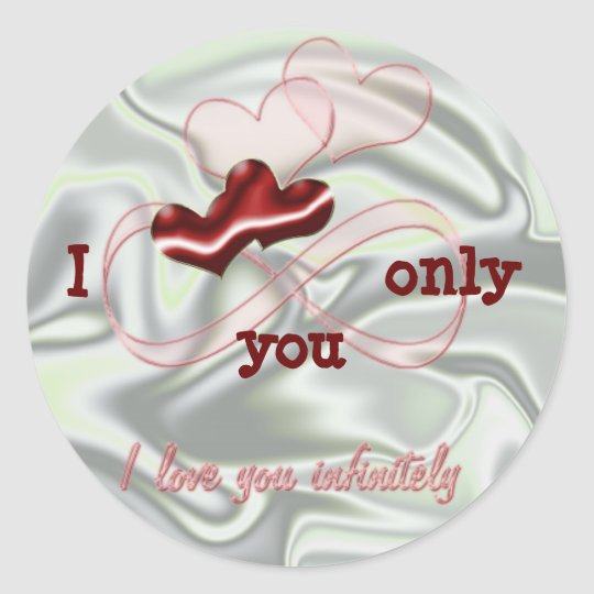 I love you infinitely. Red hearts Classic Round Sticker