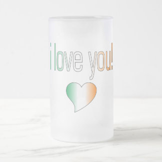 I Love You! Ireland Flag Colors Frosted Glass Beer Mug