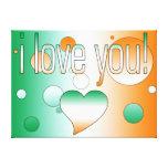 I Love You! Ireland Flag Colors Pop Art Stretched Canvas Prints