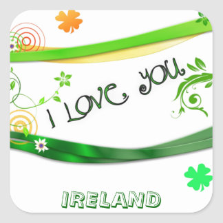 I Love You Ireland Square Sticker