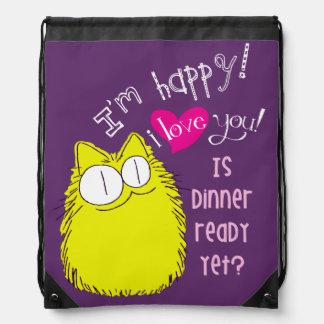 I love you! Is dinner ready yet? Purple Drawstring Bag