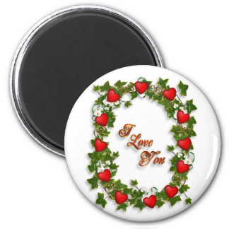 I Love you ivy and red hearts 2 Inch Round Magnet