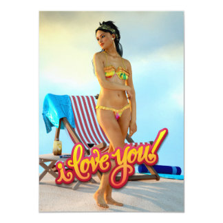 "I Love You Keira 4.5"" X 6.25"" Invitation Card"
